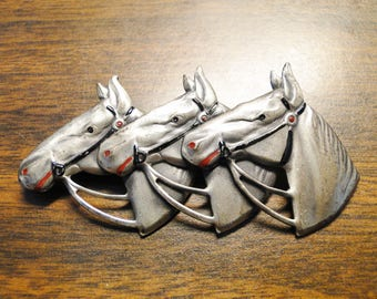 "Silver Tone Horse Horses Brooch - 1 1/2"" X 2 3/4"" - Very Cute!"