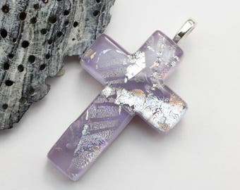 Purple Cross Necklace, Fused Glass Cross, Dichroic Cross, Lavender Silver Violet Blue Dichroic Glass Cross for Girl, Snake Chain inc., CR310