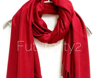 Maroon Red Cashmere Scarf /Autumn Winter Scarf /Gifts For Her /Gifts For Mother /Women Scarf/ Men Scarf /Accessories /Christmas Gifts