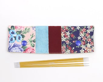 "DPN cozy for 15cm / 6"" knitting needles, floral patchwork DPN keeper, gift for knitter"