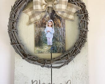 Blessed 12x18 Photo Board Wreath in Ivory