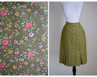 Floral vintage 60s cotton skirt | 1960s flower skirt