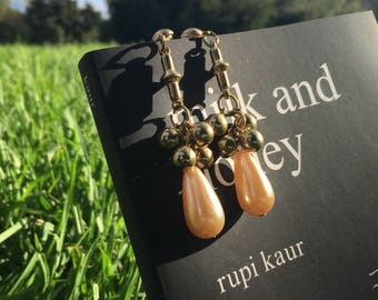 Vintage Creamy Champange and Brass Cluster ball Dangle Earrings