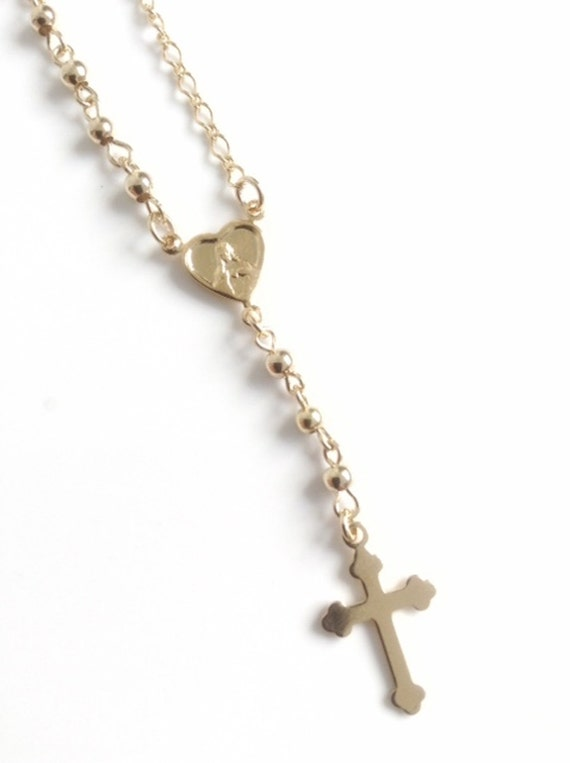 Delicate gold rosary necklace cross rosary necklace gold delicate gold rosary necklace cross rosary necklace gold crucifix pendant rosary catholic rosary gold cross necklace religious jewelry aloadofball Gallery