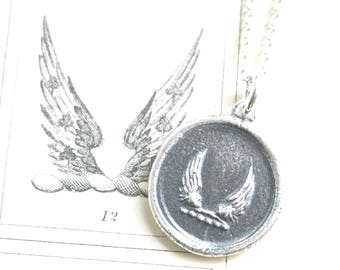wings wax seal necklace - soar, swiftness, protection - inspirational gift - sterling silver antique wax seal jewelry