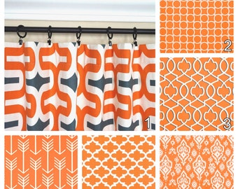 Orange Curtains.Window Curtains.Kitchen Curtains.Apache Orange Window Treatment.Moroccan Curtains.Optional Blackout Curtains