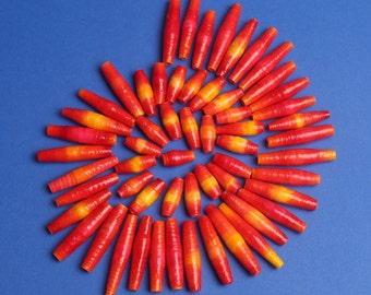 Flaming red hot paper beads