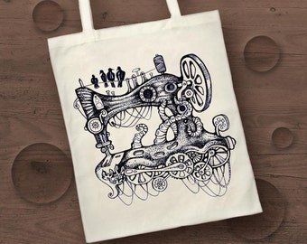 steampunk sewing machine screen print cotton tote bag