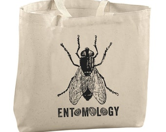Fly Tote Bag Beach Bags Canvas Tote Bag Bug Tote Bag Reusable Grocery Bag Tote Gifts for Teachers Insect Bag Entomology Tote Bag Student Bag