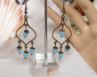 Baby Blue Dangle Drop  Glass Earrings!
