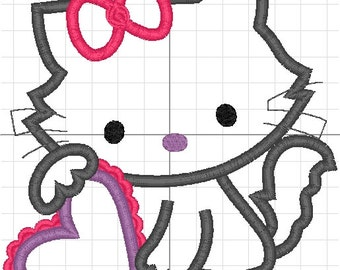 hello kitty applique machine embroidery heart