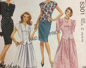 Vintage  Misses' Two Piece Dress Sewing Pattern McCall's 5301 Size 10-14 Bust 32-36 inches Uncut  Complete
