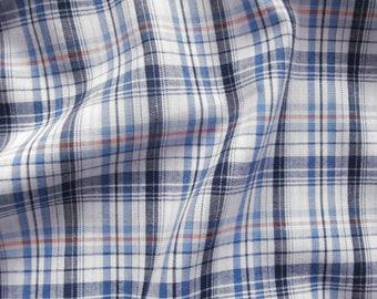 Cotton fabric checkered V2202 in white-blue-dark blue