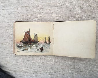 Beautiful Vintage Autograph Album - complete with dedications, drawings and watercolour paintings