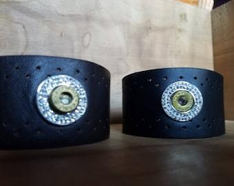 Badass leather cuff bracelet made with spent ammunition!