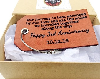 Happy 3rd Anniversary Leather Luggage Tag, Our Journey, Personalized Anniversary Gift, New Husband Wife Gift, Leather Third Anniversary Gift