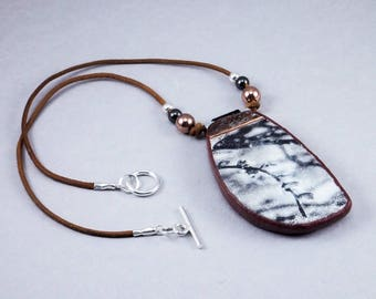 Handcrafted Copper Floral Print Necklace - Silver Black Choker No. 131