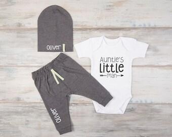 Nephew Baby Gift, Auntie's Little Man Baby Boy Bodysuit, Personalized Hat, Pants, Baby Nephew Gift, Auntie Baby Boy Clothes, Aunt Baby Gift