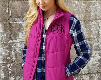 Monogrammed Puffer Vest ~ Monogram Puffy Vest ~ Gift for Her ~ Quilted Vest ~ Christmas Gift a11