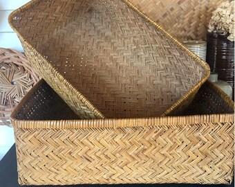 Set of 2 Nesting Baskets / Boho Baskets / Rectangle Woven Baskets