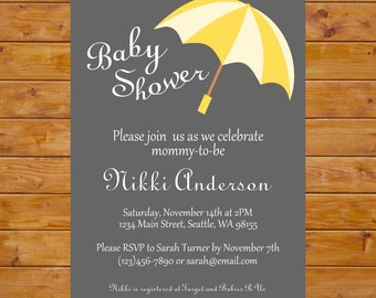 Umbrella Baby Shower Invitation - Yellow Umbrella Baby Invitation - Yellow and Grey Invitation - Printable, Custom, Digital File