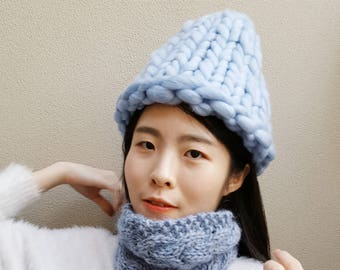 READY TO SHIP-Super Chunky Hat - Korean Hat - Winter knit Hat (With | Without PomPom) - Blue