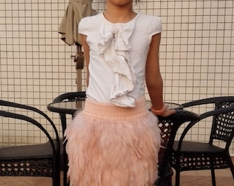 Kids coque feather skirt with wide elastic waistband#KSKT18002