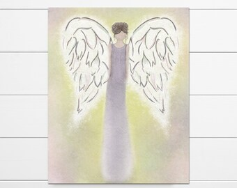 Angel Wall Art, Angel Print On Canvas, Guardian Angel Art, Angel Canvas Art, Angel Art Gift, Guardian Angel Print, Angel Paintings On Canvas