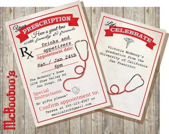 Medical School  or Nursing School Graduation Prescription Invitation