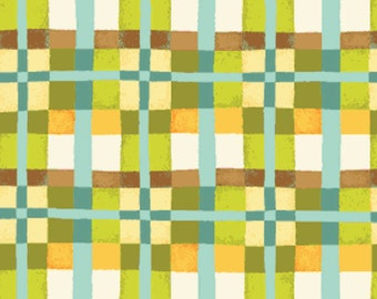 Half Yard Mischief  - Happy Plaid in Green - Little Boy Fabric Line Designed by Nancy Halvorsen for Benartex (w891)