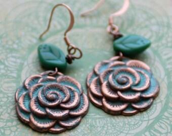 Autumn Flower Earrings, Copper Rose Earrings, Green Earrings, Verdigris Patina Earrings, Copper Jewelry, SRAJD, JewelryFineAndDandy