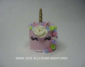 12th scale miniature Pink Unicorn Cake
