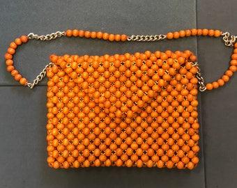 Cool Vintage 1960's Orange Beaded Purse Bag-Bonnie Int'l Japan