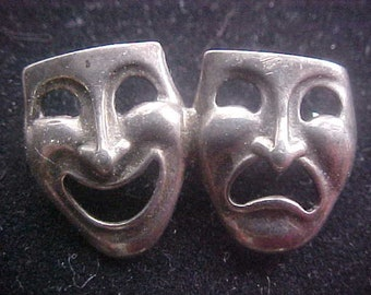 """Sterling Silver Actor's Masks Lapel Pin  vintage 80s 1.25"""" wide 4.6 Grams"""