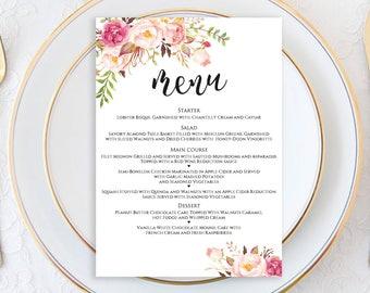 Menu Printable Template, Wedding Menu Card, Wedding Menu Template, Menu Template, Editable Menu Template, Menu Printable Wedding, 5x7 menu