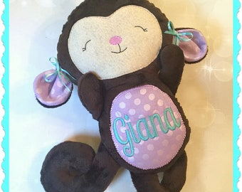 Personalized Plush Monkey - stuffed animal monkey - monkey stuffie - embroidered stuffed monkey - Baby Shower Gift - Birthday Gift - Photo