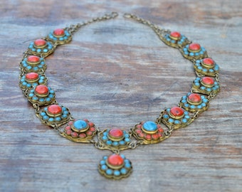 Nepalese necklace vintage antique copper and glass handmade turquoise and coral coloured tribal ethnic  Nepal