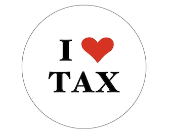 "I heart tax 2-1/4"" Button or Magnet"