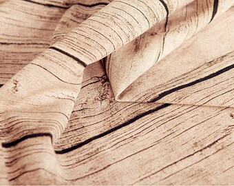 Vintage Wood Grain Linen Cotton Fabric, Retro Tree Bark Fabric For Upholstery Photon Background- 1/2 Yard 1/2 yard f232