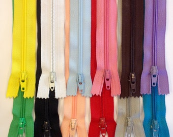 "Bulk zippers 7"", 9"", 12"", 14"" bundle of 12,  Ziplon YKK coil zippers, variety of colors, nylon coil, below whole sale prices, priced to sell"