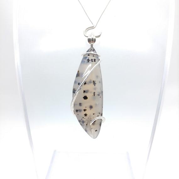 Montana Moss Agate Pendant Necklace | Sterling Silver Pendant | Rare Gemstone | Simple Stone Pendant | Agate Jewelry