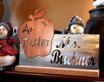 12 inch Custom Steel Teacher Appreciation Desk Plaque Personalized