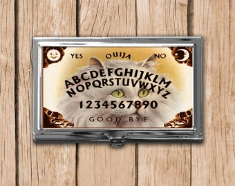 Cat Ouija Magnetic Needle Case, Metal Business Card Case, Available in Silver or Bronze, Needle Storage, Gift for Cat Lover