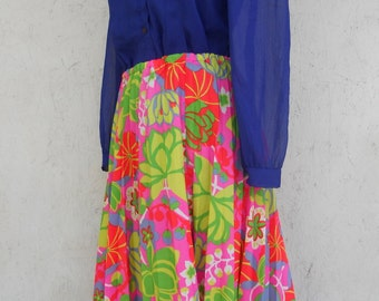 70s Floral Skirt . Accordion Pleat Skirt . HAWAIIAN Skirt Full Skirt M-L