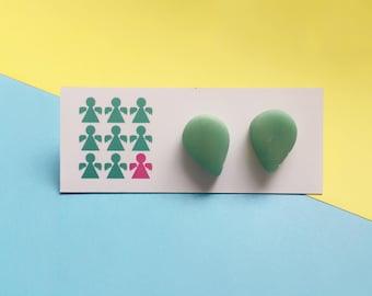 Green stud earrings, pastel earrings, clay earrings, teardrop earrings, colourful earrings, stud earrings, quirky earrings, raindrop studs