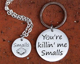 90's baby, 90's nostalgia, You're killin me smalls, Smalls, The sandlot, pulp culture, key chain set, necklace set, growing up in the 90's