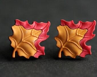 Autumn Leaf Earrings. Amber Leaf Earrings. Orange Leaf, Red Leaf. Bronze Earrings. Red Earrings. Orange Earrings. Autumn Jewelry.
