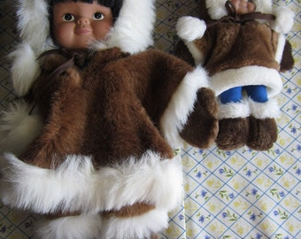 2 x ESKIMO DOLL, one large, one smaller, 15 inches and 9 inches tall, Alaska Eskimo doll, Kipmik doll