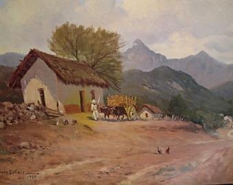 Vintage Mexico Landscape rare lithograph
