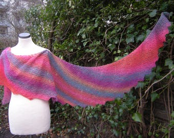 Knit scarf, wrap, hand knit, stole, scarf Caribbean, pink-colorful